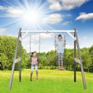 Norfolk Grey/White Painted Wooden Double Swing Set